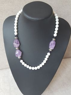 White Round Jade Big Amethyst Silver Spacer by AbaloneStore  www.facebook.com/AbaloneJewelryStore/  www.instagram.com/abalone.abalone/