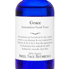 Grace Antioxidant Organic Facial Toner  Speeds by SpaGoddess, 30$ *98% Organic Grace Antioxidant Toner is highly beneficial for all skin types including blemish prone, mature, sensitive, sun damaged & generally over-exposed skin.