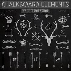 Chalkboard clipart clip art chalkboard elements with crown