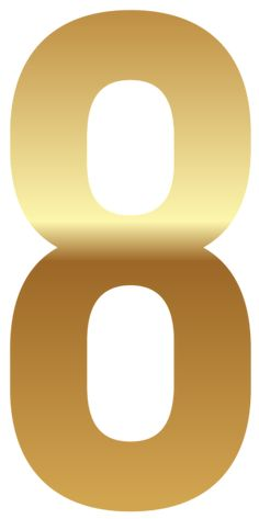 Golden Number Eight PNG Clipart Image