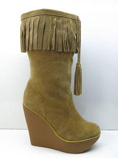 0d42e386b97185 Jessica Simpson Brown Suede Leather Fringe Platform Wedge Boots 10B 10 MSRP   199. eBay. Shop Women s Jessica Simpson Tan size Heeled ...