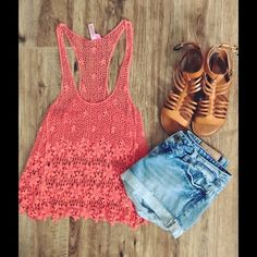 Coral crochet tank {small} Cute coral colored crochet tank. Perfect to wear as a coverup or with a bandeau. I also have a white one for sale in my closet. Tops