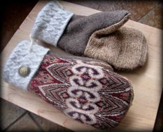 RECYCLED MITTENS  Wool Angora Rabbit Hair Cashmere by SweatyMitts, $35.00