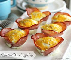 Canadian Bacon Egg Cups - Easy breakfast recipes are the best. Mornings are usually harried for most everyone darting to get to their destination on time. That's one pf the reasons I started baking eggs in the oven.