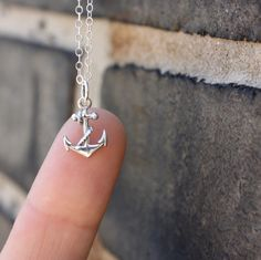 Anchor necklace - sterling silver anchor charm . sterling silver chain . nautical . simple, minimal charm jewelry