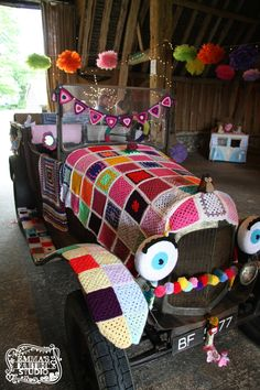 Emma's Fabric Studio Open Day July 2014 - here's Hilly Billy the yarn bombed car of our show! https://www.facebook.com/emmasfabricstudio