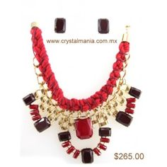 Set de collar y aretes en base dorada con detalles en tono rojo estilo 30221