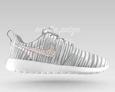 sports shoes 46d1e a7b7c Custom Nike Roshe Run (Gray Print White) running shoes with Swarovski  Crystals