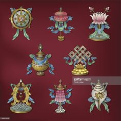 The 8 auspicious symbols are popular choices for good luck emblems to use in feng shui applications. The Eight Mahayana Buddhist symbols are considered . Tibetan Symbols, Tibetan Art, Tibetan Buddhism, Buddhist Art, Roda Do Dharma, Buddhism Symbols, Feng Shui Symbols, Mahayana Buddhism, Wheel Of Life
