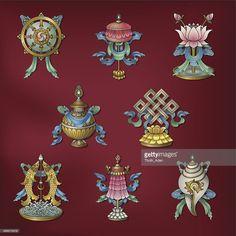 Vector Art : Eight Auspicious Signs / Ashtamangala – (Buddhist Symbols)
