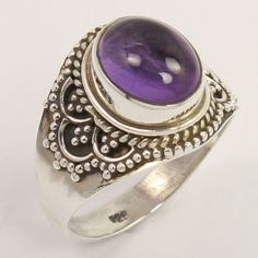 Handcrafted Ring Size US 6.75 Natural AMETHYST Oval Gemstone 925 Sterling Silver…