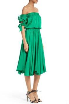 Alternate Image 3  - Milly Zoey Off the Shoulder Stretch Silk Midi Dress