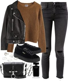 outfit for winter with a leather jacket and puma creepers by ferned featuring a rope bracelet