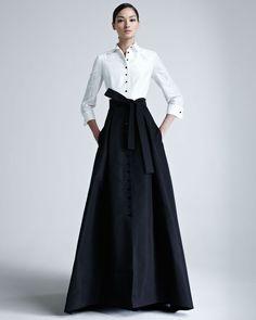 corila herrera white shirt and skirts | Carolina Herrera Taffeta Gown in Black (ivory/black) - Lyst
