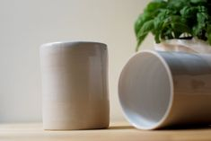 White Ceramic Mug without handle, Two Stoneware Handthrown Cups Ceramic Mugs, Tea Time, Ceramics, Coffee, Tableware, Handmade, Gifts, Etsy, Ceramica