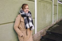 Maison Scotch plaid scarf and a camel coat / Easy winter outfit