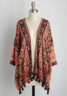 Towers of Observation Jacket. Youre ready to be wowed by the sights, so grab your binoculars, slip into this printed kimono, and set off! #orange #modcloth