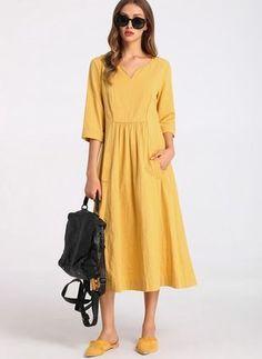 Pamuk Polyester Orta boyda gündelik 3/4 Kollu Katı Elbiseler  - Floryday @ floryday.com