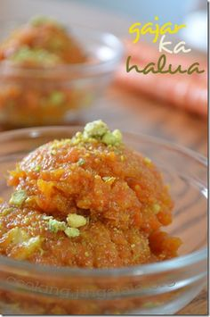 Gajar-ka-halwa recipe - a sweet dessert- Also, never substitute real milk for almond. Indian Dessert Recipes, Indian Sweets, Sweets Recipes, Cooking Recipes, Ethnic Recipes, Cooking Games, Carrot Halwa Recipe, Halva Recipe, Carrot Pudding