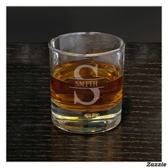 Bryne - Personalized Hand Blown Rocks Whiskey Glass - Oakmont Design - Initial with Last Name Glass Engraving, Engraving Ideas, Whiskey Glasses, Whiskey Drinks, Old Fashioned Glass, Glass Etching, Etched Glass, Wine Glass Set, Drinking Glass