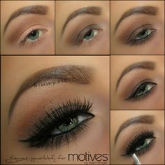 Tutorial Apply Cappuccino on the crease as transition shade Apply Hot Chocolate all over the lid and along the bottom lash line. Blend it out Brighten the inner corner  highlight the brow bone with Vanilla Apply Liquid Liner in Noir along the top lash line  black eyeliner on the waterline Apply mascara  false lashes if you wish