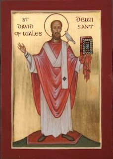 St David, Patron Saint of Wales, reportedly born end of the 5th Century, died 1st March (estimated age 88 in 589 AD).
