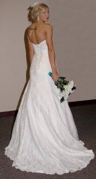 David's Bridal Strapless Lace A-line Gown With Side Split Style Yp3344 Wedding Dress