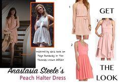 Fifty Shades of Grey: Anastasia Steele's (Dakota Johnson) pink/peach tie neck halter dress #fiftyshades #fiftyshadesofgrey #50shades #anastasiasteele