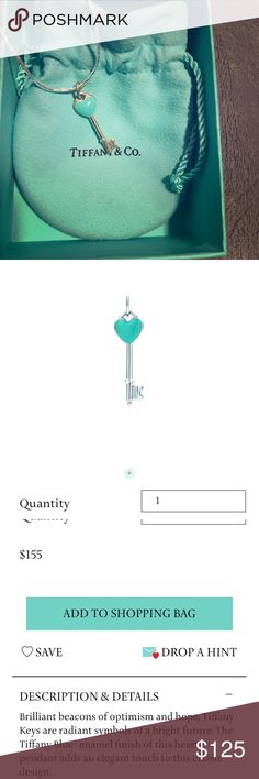 Tiffany - Key Heart Pendant In Turquoise. Like new condition! Received as a gift - Never Worn! Retail for pendant alone is $155 NOT including chain. Asking $125 for both pendant and chain 💎 Tiffany & Co. Jewelry Necklaces