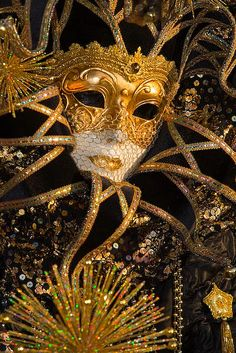 Amazing black and gold costume with a stunning mask of gold and ivory.