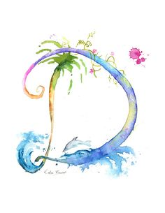 Letter D - Watercolor Monogram - Flower Lettering - Watercolor Letter Print - Watercolor Initial