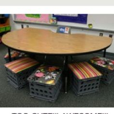 hmmm ... don't know if these are high enough for fifth graders.  Will have to measure.  Like the idea, though.  Much easier to stack than chairs, quieter on my tile, and use for storage at end of year.  :)