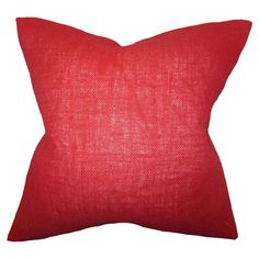 Add a pop of style to your sofa, arm chair, or settee with this paprika-hued burlap pillow. Made in the USA.      Product: Pillow