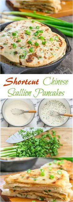 Shortcut Chinese Scallion Pancakes. No kneading necessary!
