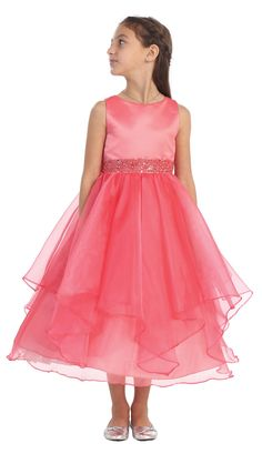 Girls Dress Style 0302- CORAL Sleeveless Satin and Organza Layered Dress with Bead Waistline - Flower Girl Dress For Less