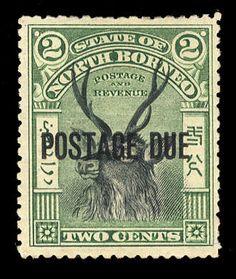 North Borneo Postage due stamps, Scott J11a, SG 13e. 1901 2c green and black, overprinted horizontally, h.r., v.f. (SG 13e) (Catalog value £350)