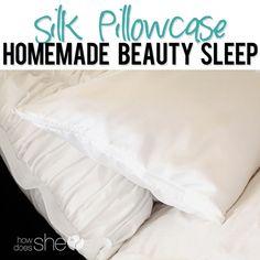 Homemade Silk Pillowcase...so much better  for your HAIR! #healthyhair #silk #pillowcase