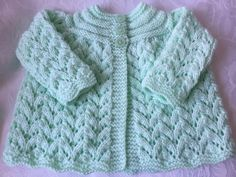 Hand Knitted Mint Green  Matinee Cardigan will fit 0-3 mths £8.50