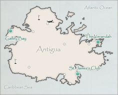 Map of Antigua and Elite Island Resorts Destinations - Galley Bay, St. James's Club, and The Verandah  Pin it to win a dream stay in Antigua! http://budgettravel.com/contest/pinterest/enter-to-win-a-dream-stay-in-antigua,2/
