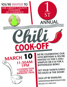 Help us celebrate the Chamber's 40th Birthday with a Chili Cookoff on March 10th from 11:30 a.m. to 1 p.m. For more information, call 912-368-4445 or email operations@libertycounty.org.#libertycounty #chilicookoff