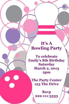 Girl's Bowling Printable Birthday Party Invitation
