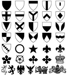 Heraldic Shield Coat of Arms Vector & Photoshop Shapes