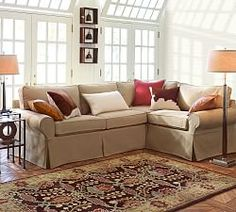 PB Comfort Roll Arm Slipcovered 3-Piece Sectional with Corner