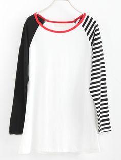 Black White Striped Long Sleeve T-Shirt