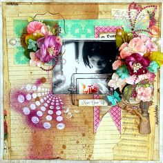 """What a stunning layout created by Irene Tan!  It features Petaloo Botanica flowers and Marion Smith """"Motley"""" papers!"""