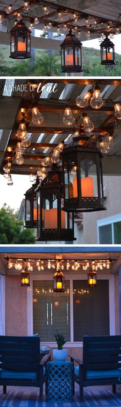 Learn how to make this DIY Ladder Light Centerpiece. Plus a outdoor Makeover. | A Shade Of Teal