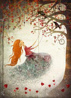 Swinging girl - Art Print by Hilde Groven