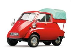 The Isetta also features a fold-back sunroof for an even more fun driving experience! 1957 BMW Isetta 300 0 Red and White. Bmw Isetta, Vintage Cars, Antique Cars, Automobile, Mini Car, Miniature Cars, Weird Cars, Cute Cars, Small Cars