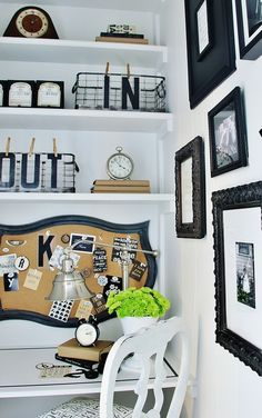How to make a small space under the stairs into the perfect home office... love the shaped bulletin board!
