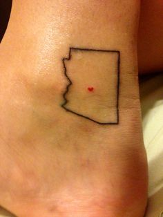 Arizona state outline tattoo. Move that heart to Lake Havasu City. :)